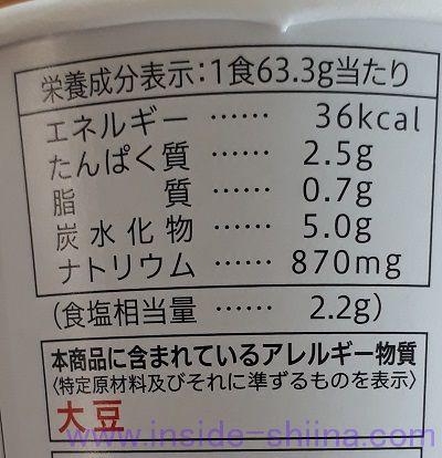 なめこ(セブン)栄養成分表示