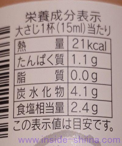うちのたまごによくあう醤油栄養成分表示