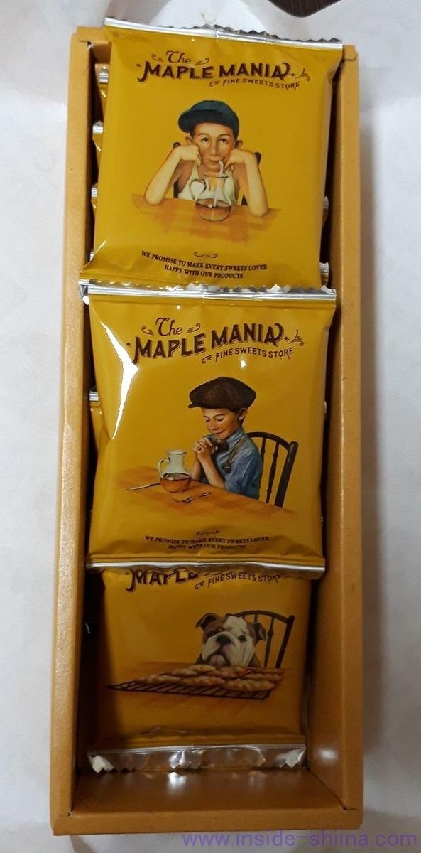メープルマニアのメープルバタークッキーのパッケージ
