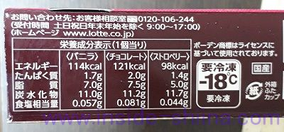 レディボーデン カップセレクション カロリー、糖質