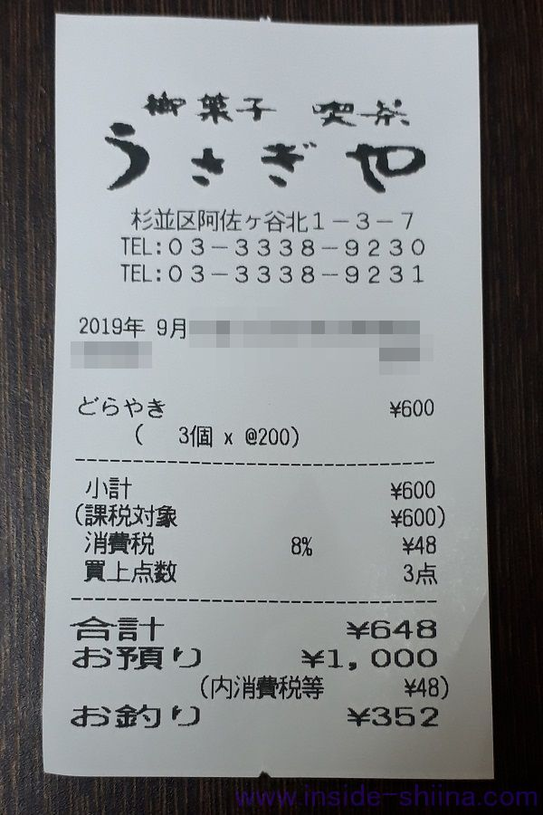 うさぎや 阿佐ヶ谷 どら焼きの値段