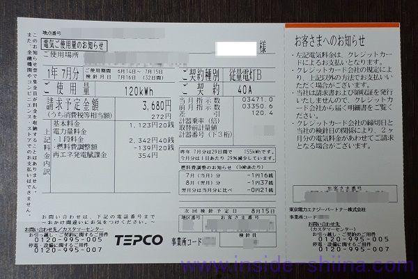 東京電力 電気ご使用量のお知らせ