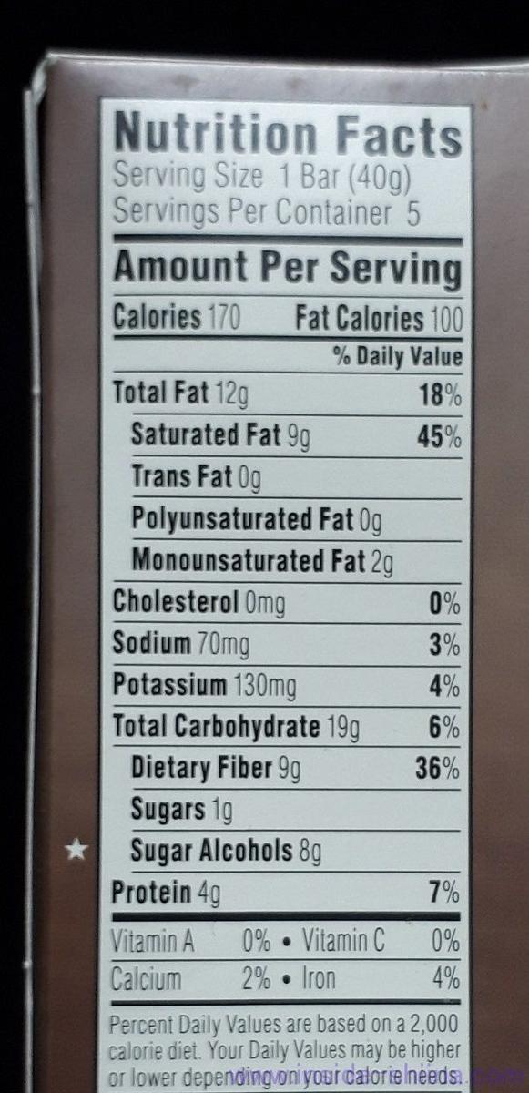 ATKINS(アトキンス)社のチョコレートココナッツバーのカロリー、糖質は!