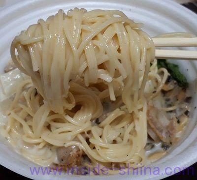 魚介の旨味あさりと帆立のクラムチャウダーパスタ(セブン) 麺
