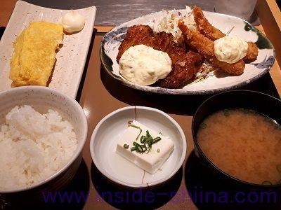 チキン南蛮とエビフライの定食(やよい軒) カロリー 糖質