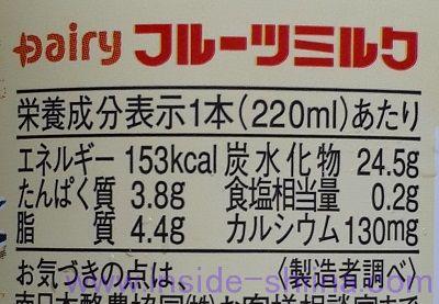 Dairy フルーツミルクのカロリー、糖質は!