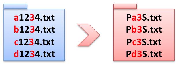 バッチファイルでファイル名一括変更