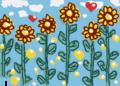 初夏の陽光に咲く向日葵