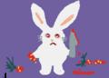 ニンジン畑でニンジンを試し斬りするウサギさん