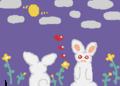 月明かりの下でお散歩するウサギさん