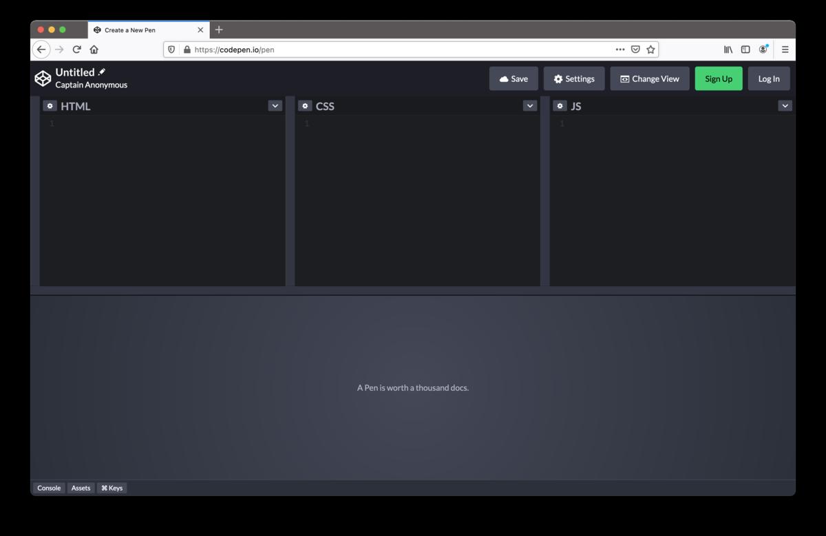 FireFox上でCodePenのページが表示される.
