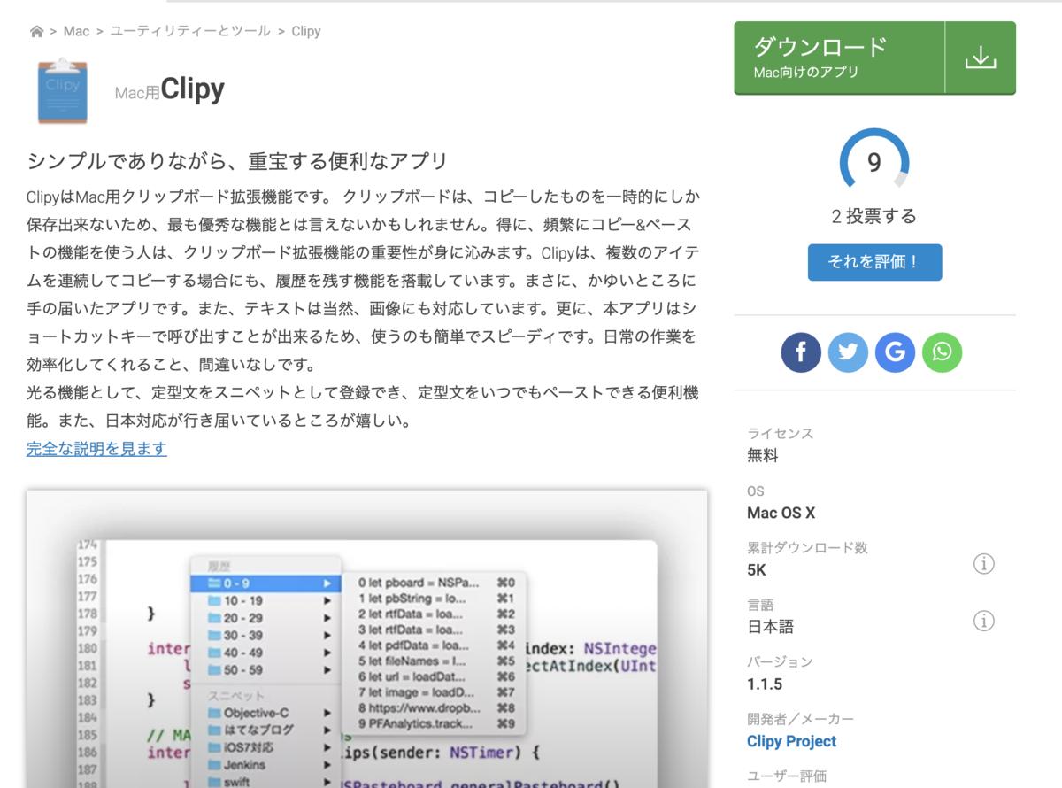 画像:clipyforMac