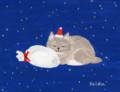 動物_クリスマス猫_林けいか