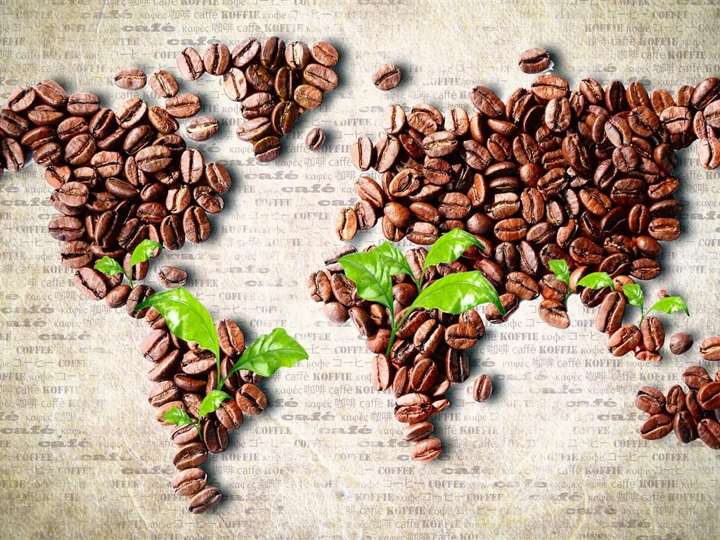 コーヒー豆で形作られた世界地図