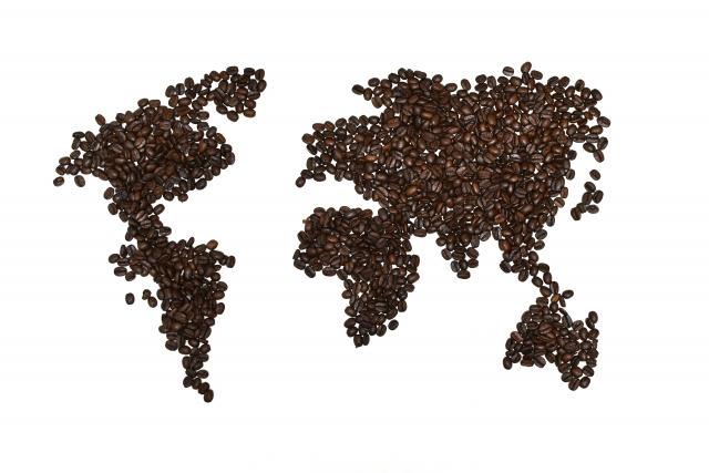 珈琲豆で模った世界地図