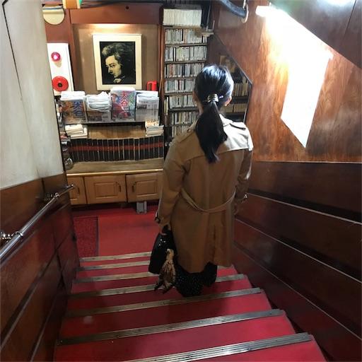 階段を下りた突き当たりに、たくさんのCDが陳列された棚