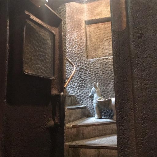 重い扉の向こうの階段を上って帰るところ