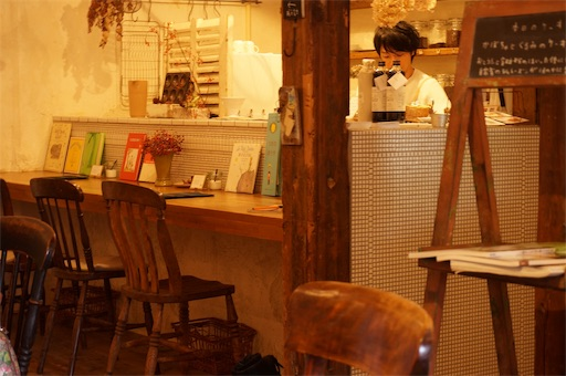 自家焙煎珈琲【Voyage】の店内にあるカウンター