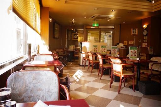 洋菓子店タカセの2階喫茶室の店内