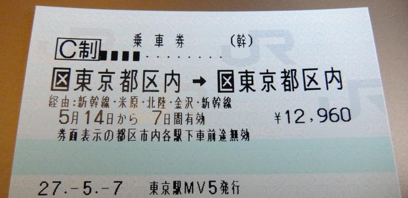 東京都区内発・米原・福井・金沢経由東京都区内着の乗車券