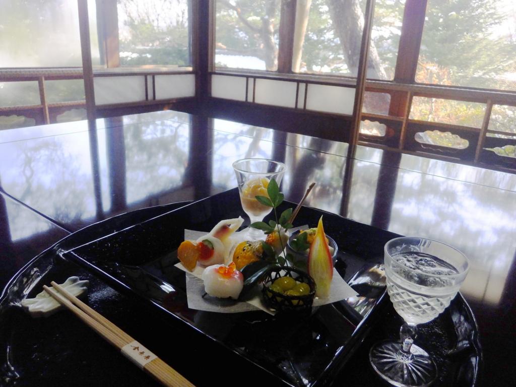 金沢・金茶寮の「御亭の間」での会席料理