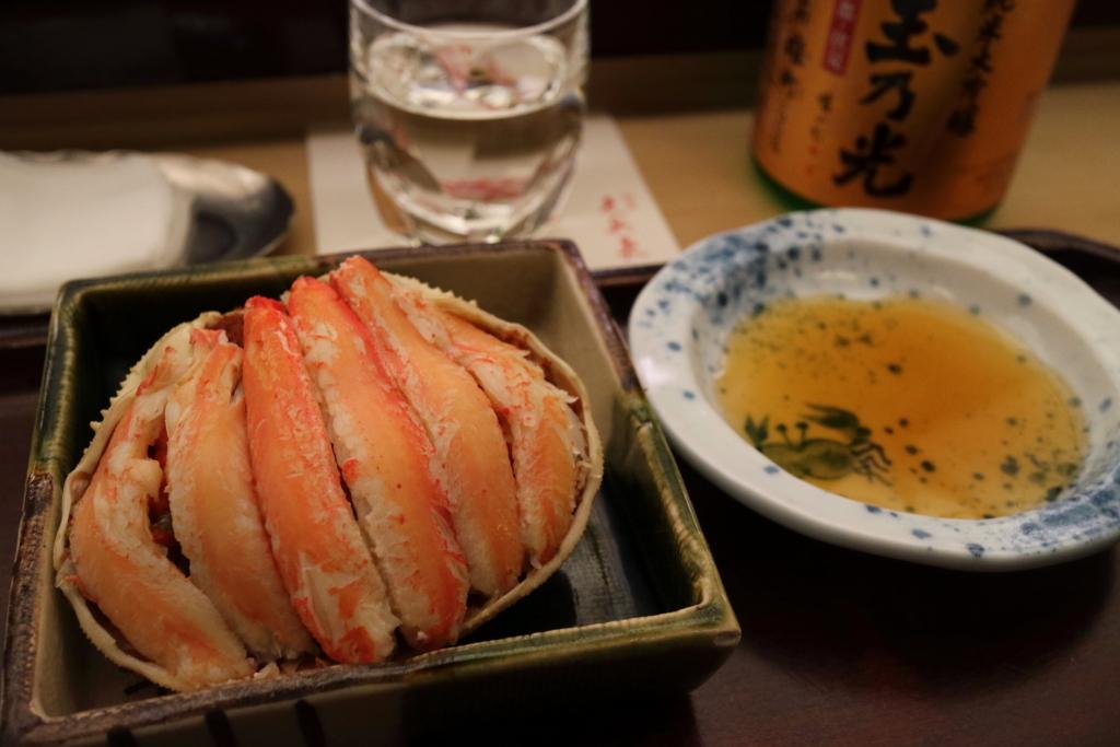 香箱がに(雌のずわいがに)に日本酒をあわせる(久兵衛ホテルニューオータニ東京店)