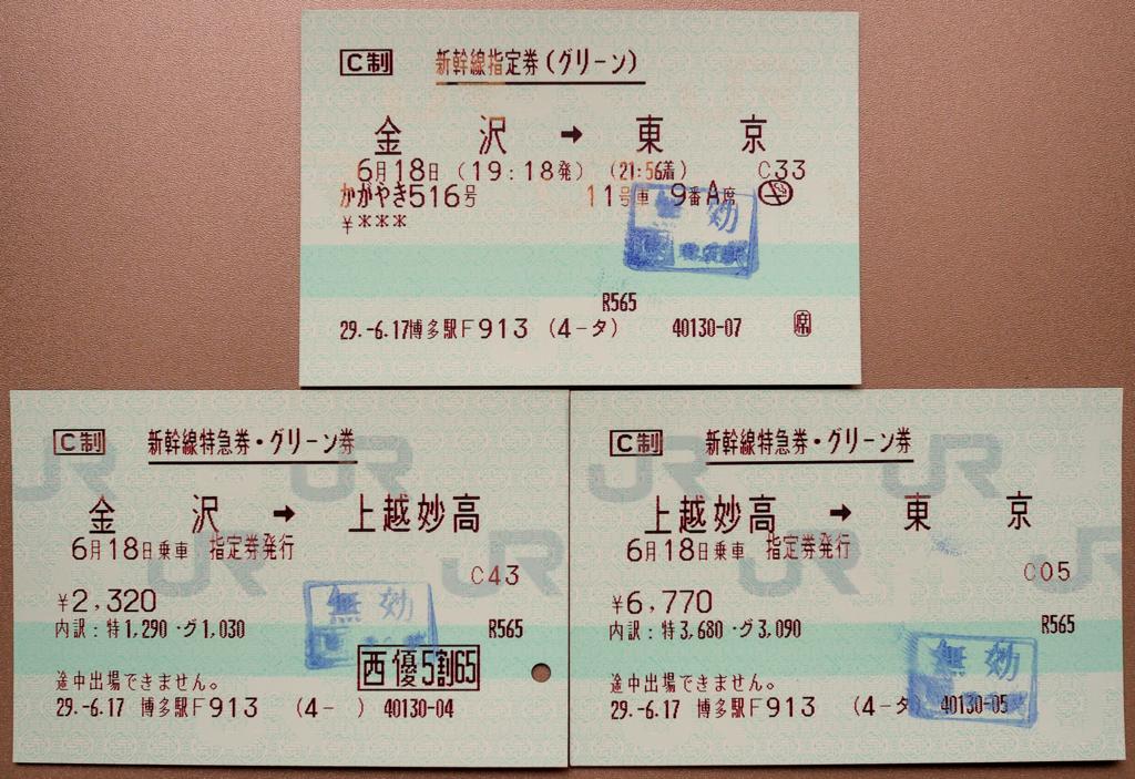 北陸新幹線・かがやき金沢→東京の特急券に株主優待を適用したもの