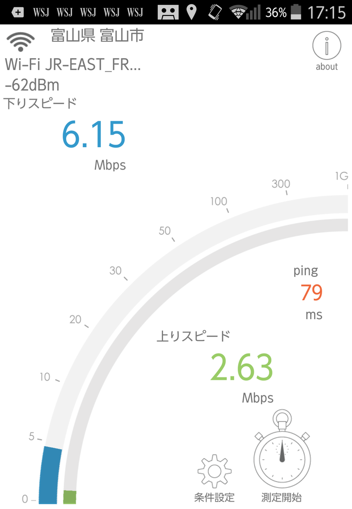 北陸新幹線車内での無料Wi-Fiの速度