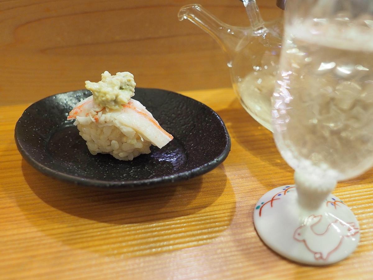石川県産ずわいがに(加能がに)のにぎり鮨