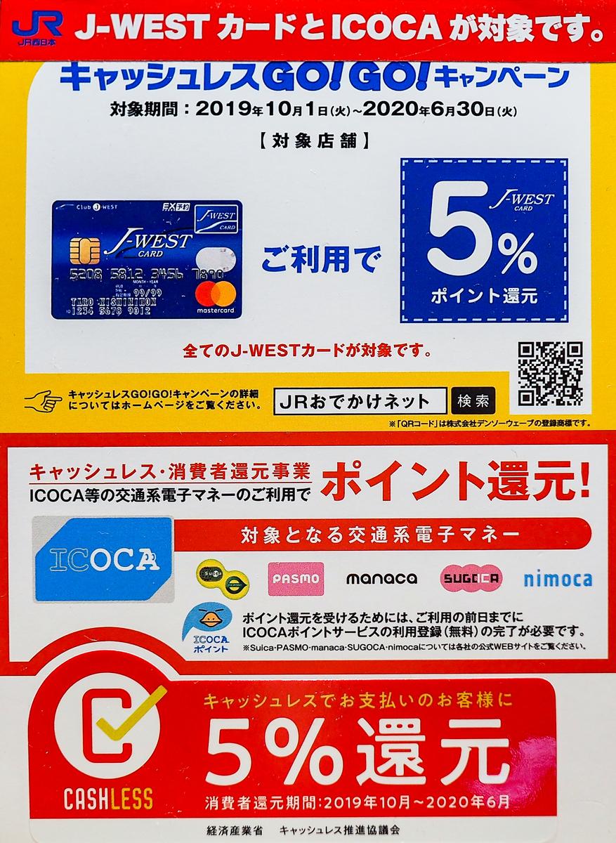 金沢駅・金沢百番街のテナント店にある国の5%ポイント還元の案内:Suica,PASMO,ICOCAなど交通系ICカードとJ-WESTカードが対象