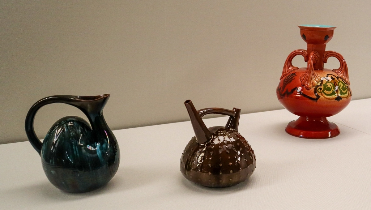 """Christopher Dresser, Jug, """"Camel back"""", Vessel in shape of sea-urchin, and Jar with acanthine handles, at National Crafts Museum, in Kanazawa, Japan."""