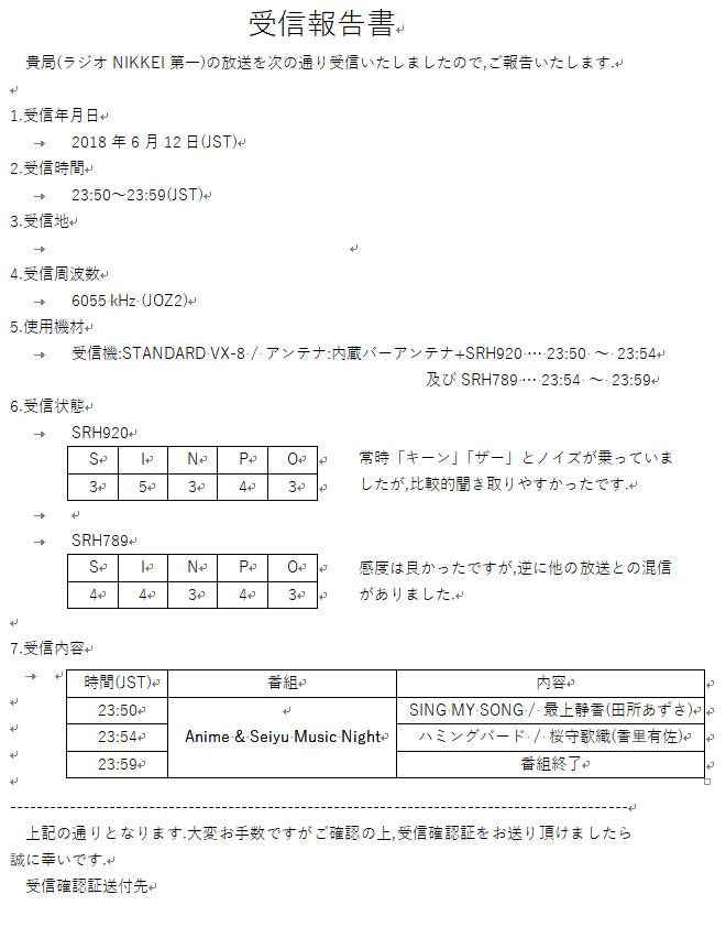 受信報告書だよ~(o・∇・o)