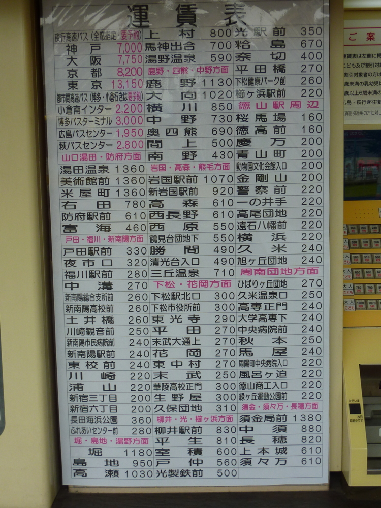 駅 時刻 表 徳山