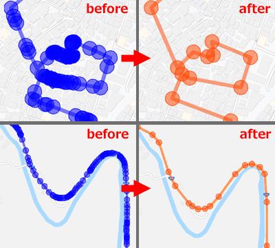 GPX形式の走行ルートデータからGPSデータ量を削減するアルゴリズムのテスト結果