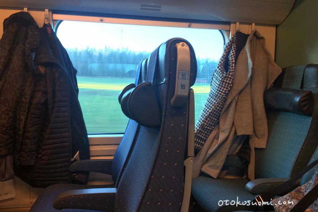 フィンランドの鉄道の車内