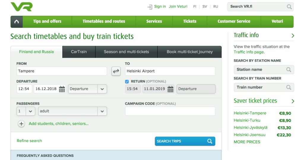 オンラインでフィンランドの列車のチケットを買う方法