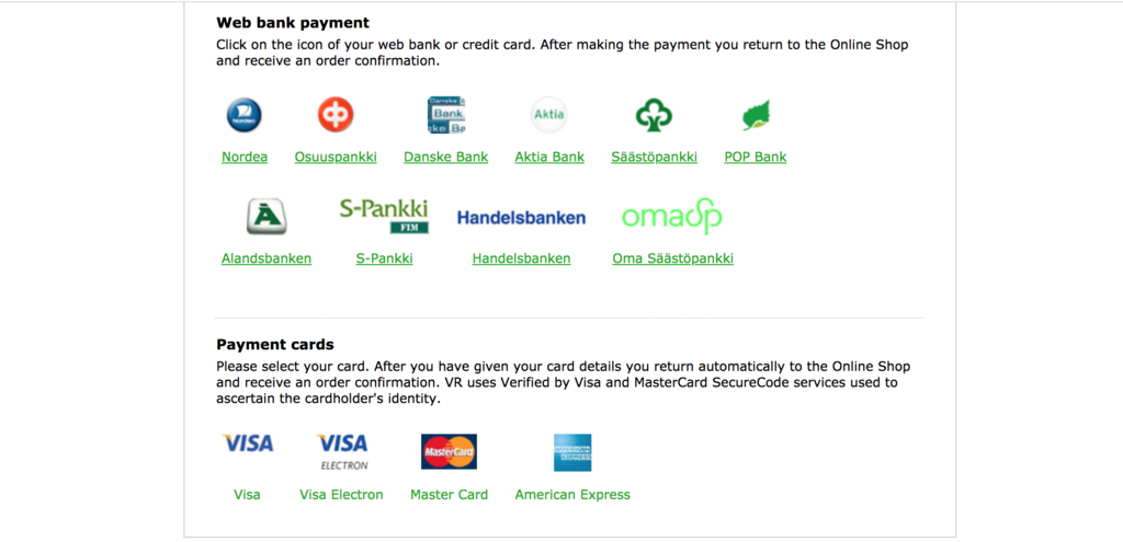 オンラインでのカードの支払いオプション