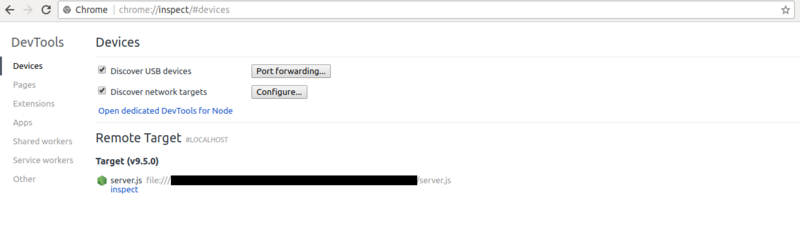 Node jsアプリケーションを、Google ChromeのDevToolsでデバッグ