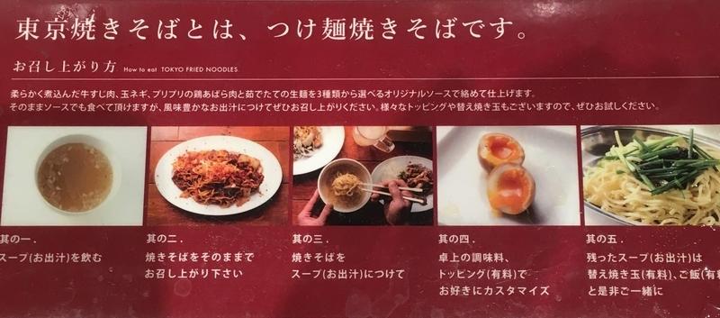 東京焼きそば(押上)つけ麺スタイルの焼きそばの食べ方 説明図