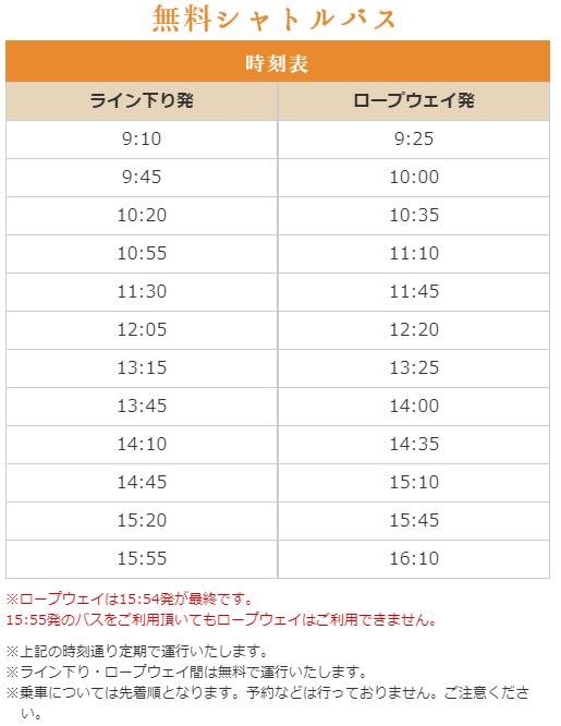 鬼怒川温泉ロープウェイから鬼怒川ライン下り行きシャトルバスの時刻表