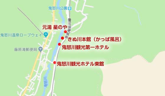 鬼怒川温泉 廃墟ホテル群の場所詳細を示した地図