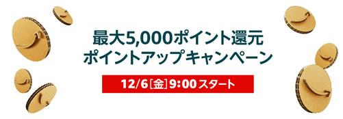 サイバーマンデーの買物前に最大5,000ポイント還元ポイントアップキャンペーンに申し込もう