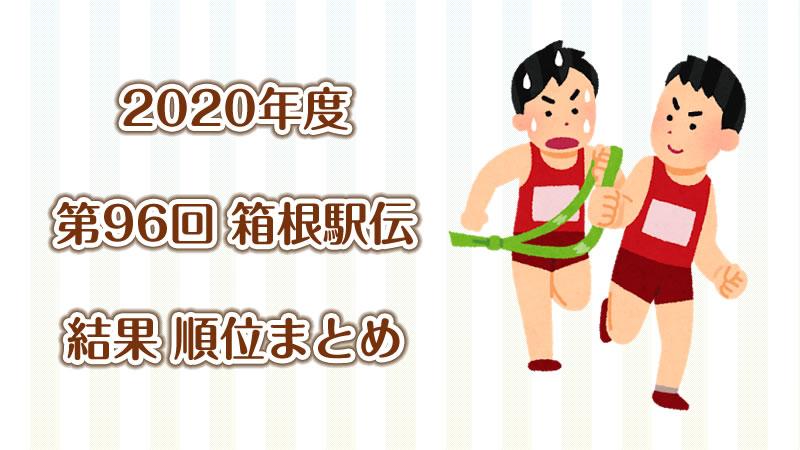 2020年 第96回箱根駅伝 往路・復路結果 区間別順位 早見表