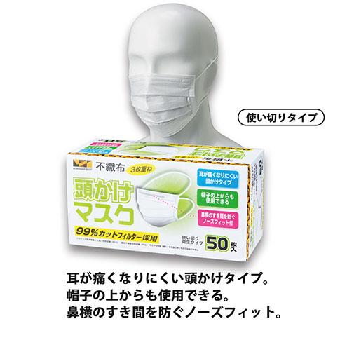 頭かけマスクの付け方の例