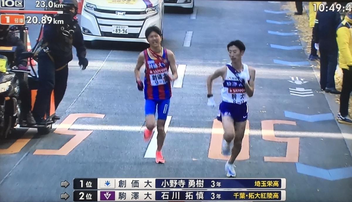 駒澤大学が創価大学を10区で抜く瞬間