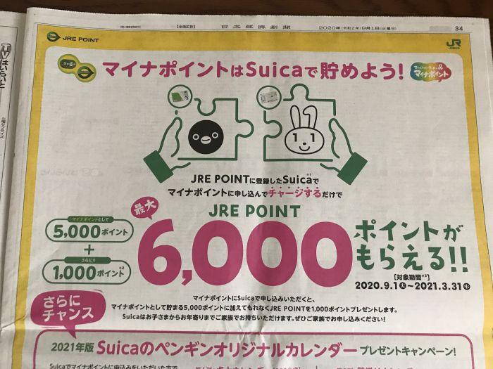マイナポイント Suica 新聞広告