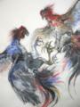 「軍鶏」(墨絵)
