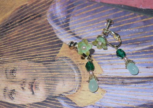 「今日の手作りのイヤリング:エメラルドの森に咲く花」