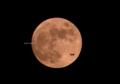 「今日の奇跡の一枚。満月と飛行機」
