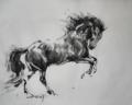 「暴れる馬:色々あった昨日、今日。。。」(和紙、墨)